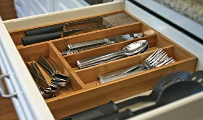 KnifeDock with Cutlery Tray In-drawer Knife Storage with slotted silverware tray. The Knifedock Fits All Blade Sizes, and Enables You to Easily Identify Your Knifes At a Glance. The Cork Composite Material Never Dulls Your Blades, and protects your silver