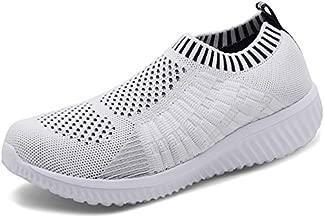 TIOSEBON Women's Athletic Walking Shoes Casual Mesh-Comfortable Work Sneakers 7.5 US White
