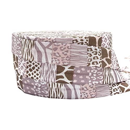 16mm leopardo flores impresión animal pliegue sobre banda elástica cinta de costura artesanía hecha a mano accesorios BRICOLAJE Bebé Diadema Pelo Lazos (Color : P890, Width : 5yard elasitc)