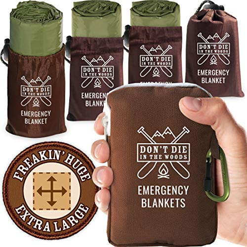 Don't Die In The Woods - Freakin' Huge Emergency Blankets [4-Pack] Extra-Large Thermal Mylar Space Blankets with Ripstop Nylon Stuff Sacks + Carabiner Zipper Pack [Army Green]