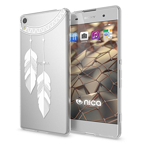 NALIA Handyhülle kompatibel mit Sony Xperia XA, Slim Silikon Motiv Hülle Phone Cover Crystal Schutzhülle Dünn Durchsichtig, Etui Handy-Tasche Transparent, Backcover Bumper, Designs:Chain Feathers