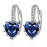 Aretes de diamantes en forma de corazón de diamante azul oscuro joyas regalo idea para mujer novia madre hija brillo pendientes de cristal