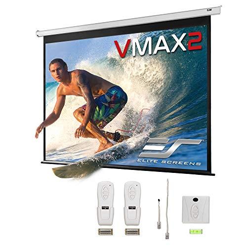 Elite Screens VMAX2 Premium Electric Motorized Projector Screen Home Theater 8K 4K Ultra HD Ready Projection w/ Multi Aspect Ratio Feature Max Size 100' Diag 4:3 to 91' Diag 16:9 w/ 24-inch Drop, White Case, VMAX100XWV2