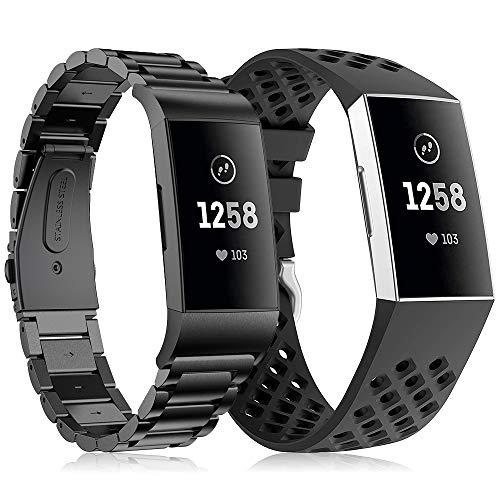 TOPsic Fitbit Charge 3 Bracelets de Montre, Acier Inoxydable Bande de Remplacement en Métal Sangle Bracelet pour Fitbit Charge 3/Charge 3 Se Fitness Traqueur