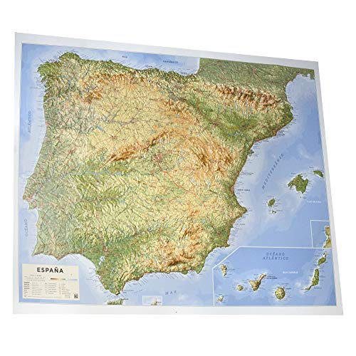 Mapa en relieve España físico: Escala 1:200.000