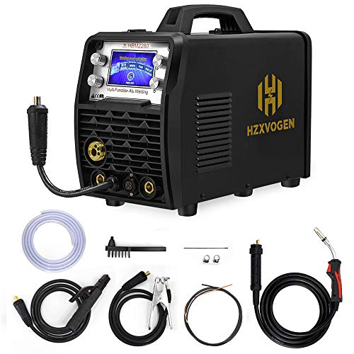 HZXVOGEN MIG Welder 110V 220V 200Amp Weld Aluminum Wider LCD Display Smart Control IGBT Inverter MIG Stick TIG Gas Mix Gases Gasless Flux Cored Wire Solid Core Wire Welding Machine (Model: HBM2280)