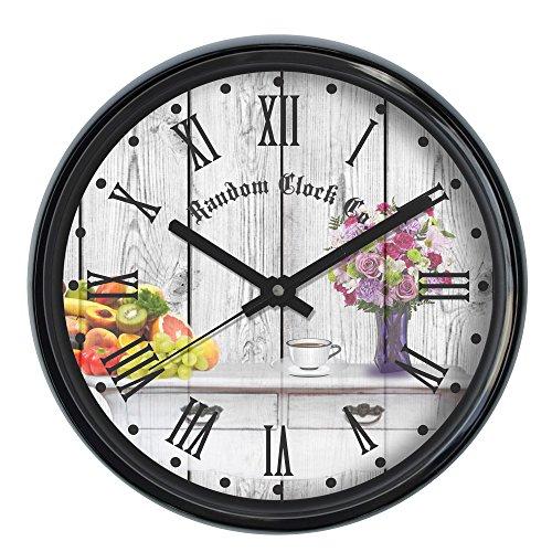 Random Plastic Round Wall Clock (30 cm X 30 cm X 5 cm, Rc-6049, Black)
