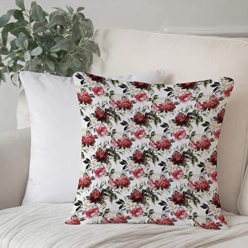 Poliestere morbido copricuscino decorativo,Shabby Chic, rose floreali floreali in stile country Acquerello,di federe per cuscini di per salotto divano camera da letto con cerniera invisibile,45x45cm
