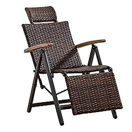 Chaise Longue Extérieure Pliante en Rotin en Osier Chaise à Bascule en Rotin,Chaise Longue Réglable Zero Gravity…