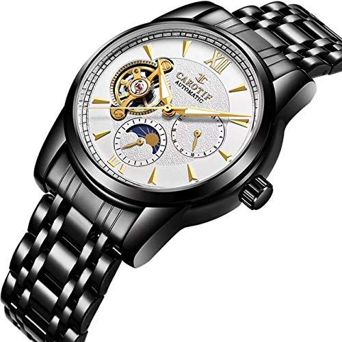 TCEPFS Top Brand Relojes para Hombre Top Brand Luxury Tourbillon Skeleton Watch Hombres Sport Steel Reloj de Pulsera mecánico automático a Prueba de AguaNegro-Blanco
