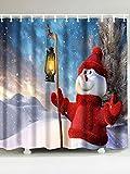YUJEJ801 Cortinas de Ducha antimoho y Lavables poliéster Cubo 3D Cortina de baño Decorativa para el hogar y el Hotel 180x180cm,Muñeco de Nieve de linternaregalo de Navidad