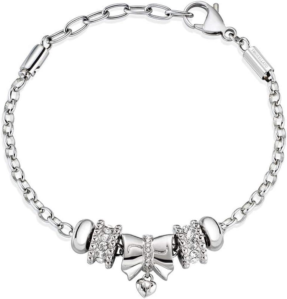 Morellato bracciale da donna, collezione drops, in acciaio e cristalli SCZ928