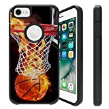 Untouchble  Case for Apple iPhone 6, iPhone 7, iPhone 8 Cover [FITS All Three] [Shock Bumper Case] Combat Shockproof Two Layer Kickstand Cover - Basketball Fire