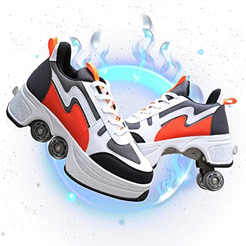 BHC Cuatro Rodillo Zapatos De Skate Zapatos Invisible De Polea De Zapatos Luz Zapatos de Running Deportes de Exterior Interior Zapatos Multiusos, niños Zapatos con Ruedas