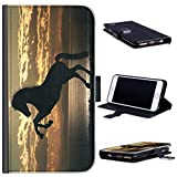 Hairyworm Silhouette Horse Phone Case Leather Side Flip