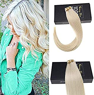 Sunny Tape in Hair Extensions Platinum Blonde Remy Tape in Human Hair Extensions Reusable 16inch Skin Weft Glue in Hair Extensions 10pcs 25G