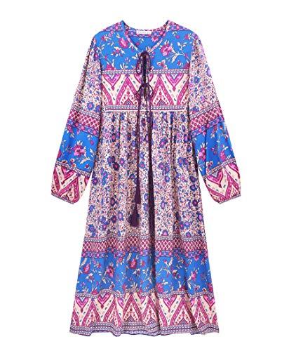 R.Vivimos Women's Long Sleeve Floral Print Retro V Neck Tassel Bohemian Midi Dresses (Large, Purple)