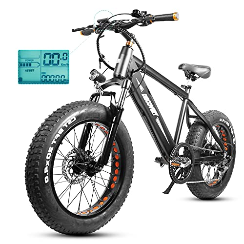 Fat Tire Electric Bike,20' Aluminum Fat Tire Bikes for Teens Adults 350W 48V/8Ah Battery Electric Bicycle Snow Beach Mountain Ebike with LED Display,Speed Sensor,Shimano 6-Speed Gear,3 Riding Modes
