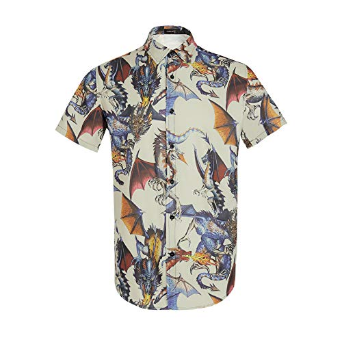Men Dragon Animal 3D Printing Shirt Funny Graphic Casual Button Down Short Sleeve Hawaiian Shirts Taupe