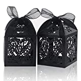 Laser Cut Boxes ,COTOPHER 100pcs Thank You Gift Boxes Wedding Party Favor Boxes Lace Candy Boxes for Wedding Baby Shower Birthday Party Decorations with Ribbons (Black, 100)