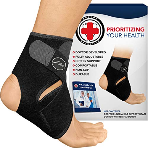 Doctor Developed Premium Copper Lined Ankle Support Brace [Single] and Doctor Written Handbook