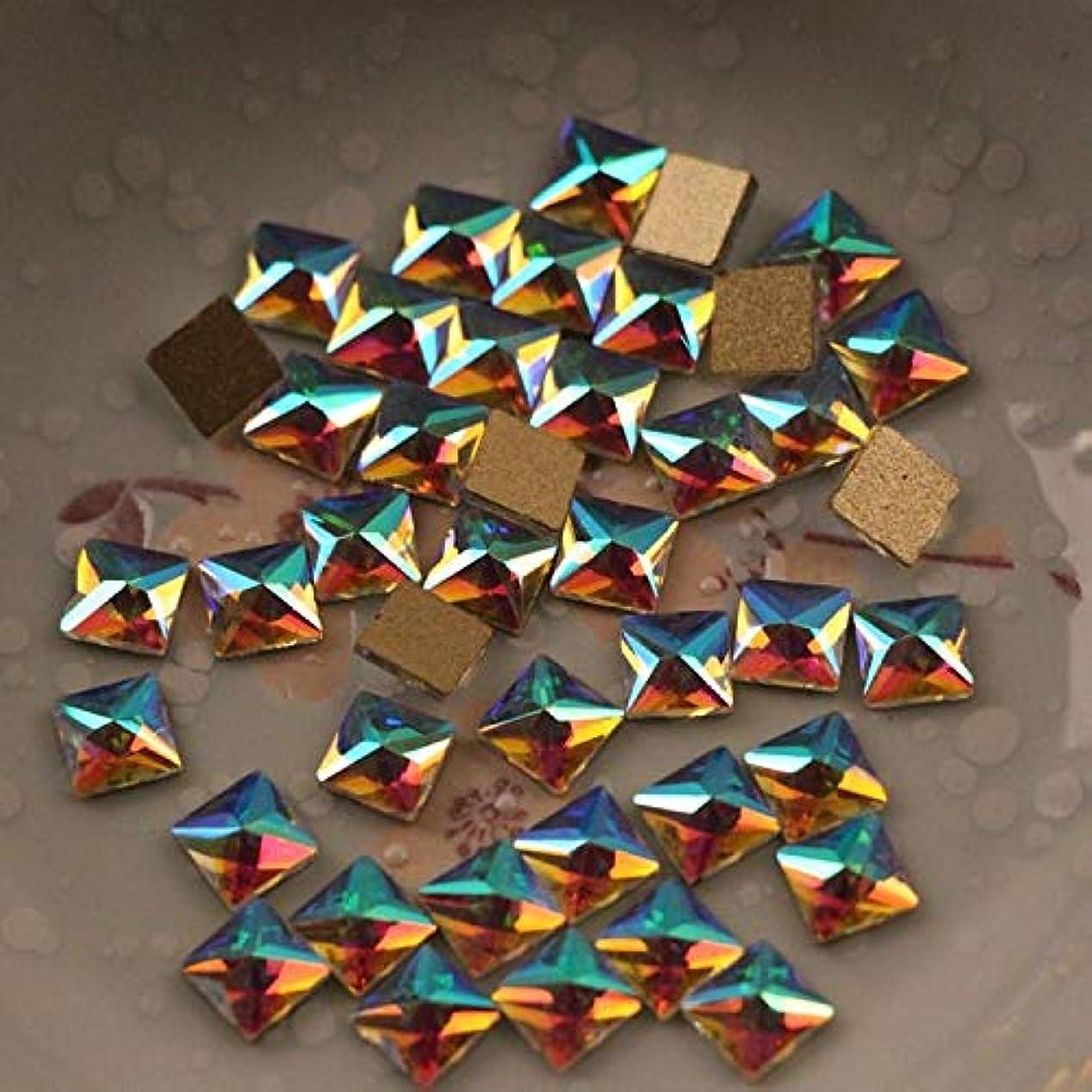 矛盾計算南FidgetGear 50個トップCrystal3Dネイルアートラインストーンフラット型ABチェコクリスタルドライ#04 正方形(6×6mm)