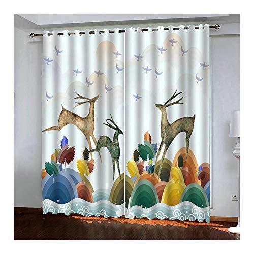ANAZOZ 2 Cortinas Opacas Cortinas Poliester Exterior Arco con Animal Ciervo Multicolor Cortinas Ventanas Tamaño 274x183CM