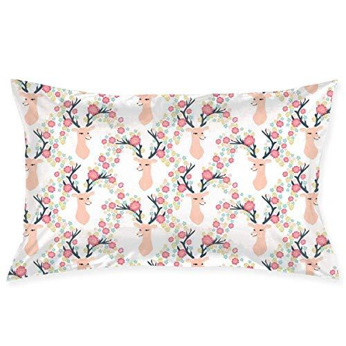 tyui7 Pillowcase Deer Head Floral Deer Decorative Pillow Cover Soft and Cozy, Standard Size 75x50 cm with Hidden Zipper
