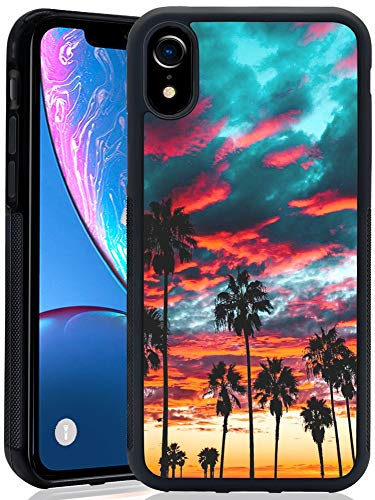 Phone Case for iPhone Xr - iNeworld Black TPU and PC Soft Rubber Protection Anti-Slippery &Fingerprint Case for iPhone Xr(Palm Tree Cloud)