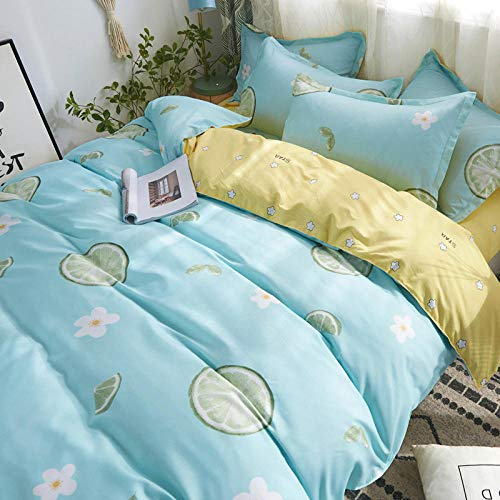 BEDASOFT Washed cotton 4 piece bed sheet Microfiber 4-PC Complete Sheet Set   Fitted Sheet, Flat Sheet, Pillowcases   Single, Double, King, Super King Double lemon 180x220cm