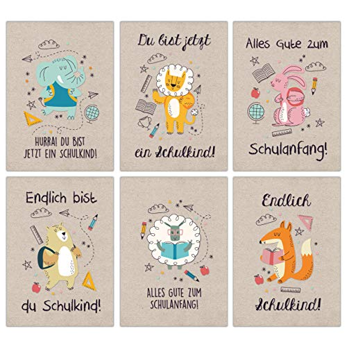 12 Glückwunschkarten zur Einschulung - Motiv Packpapier Tiere - Geschenk und Grüße für Schulanfänger - Buntes Postkarten Set für Kinder zum Schulanfang - DIN A6