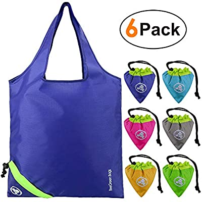 Shopping Bags Reusable 6 Pack Folding With Little Pouch Ripstop Sturdy Compact Foldable Grocery Bags for Shopping Groceries Trip Storage Yellow Teal Pink Grey Blue Green
