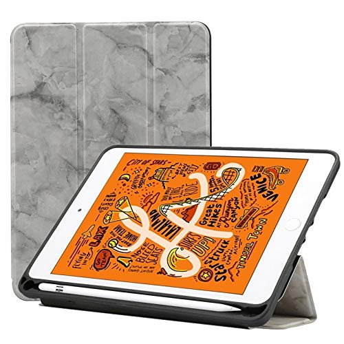 Ipad case Marble Texture Pattern Horizontal Flip Leather Case for iPad Mini 2019, with Three-folding Holder & Pen Slot & Sleep/Wake-up Function (Pink) Asun (Color : Grey)