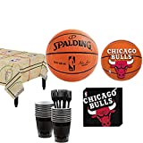 Party City Chicago Bulls Party Supplies for 16 Guests, Includes Table Cover, Plates and More