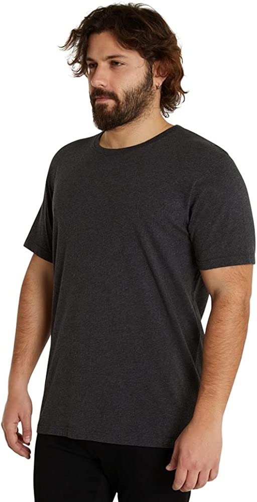 Johnny Bigg Mens Essential 100% Cotton Short Sleeve Crew Neck Casual Tee Charcoal - Fashion 4XLT