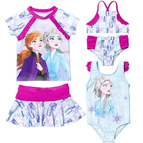 Disney Frozen Elsa Anna Toddler Girls Swimsuit Set: Rash Guard Bikini Skirt One-Piece 2T