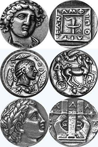 Golden Artifacts Apollo, 3 Famous Greek Coins of Apollo, Percy Jackson Teen Gift, Unique Gift, Greek Mythology (PJ3APOL-S)