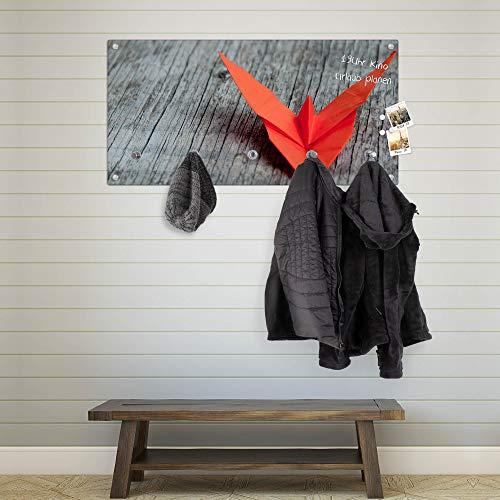 banjado Wandgarderobe aus Echtglas | Design Garderobe 80x40x6cm groß | Paneel mit 5 Haken | Flurgarderobe für Jacken und Mäntel | Garderobenleiste mit Motiv Origami Schmetterling