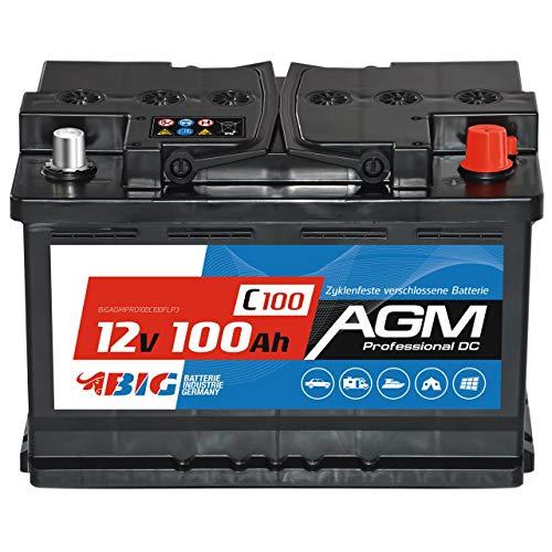 BIG AGM Batterie 100Ah C100 12V Solarbatterie Versorgungsbatterie Mover Bootsbatterie