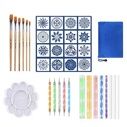 lailongp 37PCS Mandala Dotting Tools Set, Pen Dotting Tools Brushes Mandala Stencil Ball Stylus Bandeja de pintura para rocas Pintura, punteado de uñas, dibujo y dibujo Suministros de arte.