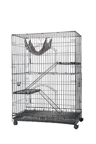 """Homey Pet 36"""" or 30"""" Black Wire Cat Cage w/Hammock Tray and Casters"""