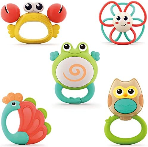 Yiosion Baby Rattle Sets Teether Rattles Toys Babies Grab Shaker and Spin Rattle Toy Early Educational product image