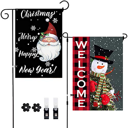 2Pack Christmas Yard Flags Snowman Welcome Santa Merry Christmas Garden Flags Happy New Year Decoration Double-Sided Front Door Outside Flags,Winter Holiday Snow Decor Burlap Flags with Clips Stoppers