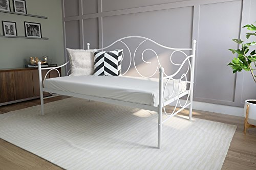 DHP Victoria Daybed, Twin Size Metal Frame, Multi-functional Furniture, White,5544096