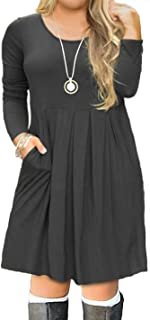 Women's Plus Size Long Sleeve Swing Casual Dress with...