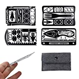 Survival Multi Tool Card 22 in 1,Steel Credit Card Pocket Sized Survival Multi Tool Outdoor Camping Readyman Survival Kit Hunting and Fishing Gifts for Men(4-Piece Set) (Black)