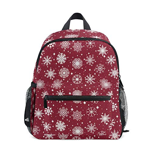 Mochila para niños y niñas Mini Mochila Bolsa de Viaje con Clip para el Pecho Imagen navideña Copos de Nieve