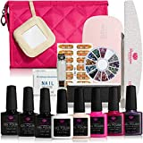 Gel Nail Polish Starter Kit - Destination Dazzle 6 Colors Gel Nail Polish Set | Base Coat, Top Coat, 6W LED Base Lamp with USB and Full Gel Manicure Nail Kit Tools Including Gift Bag (Golden)