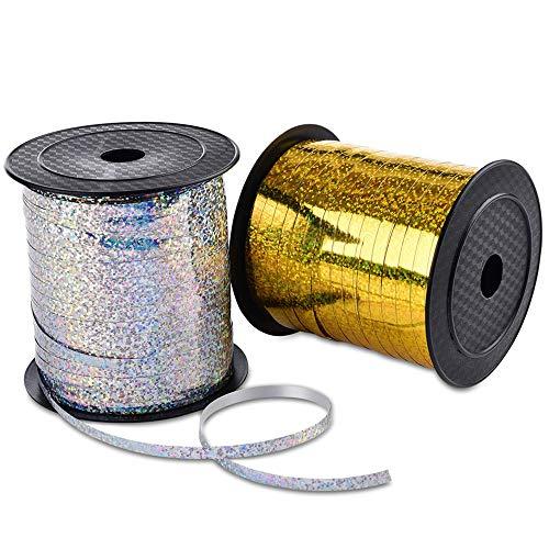 2 PCS Polyband Geschenkband Silber Gold Ringelband für Hochzeit Partei Festival Dekoration Handwerk Geschenkverpackung Florist Luftballon -Total 500 Yard/ 456m