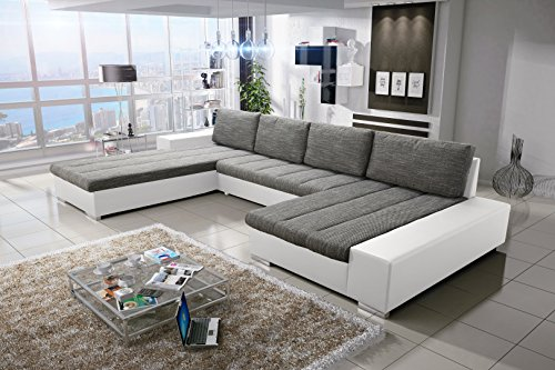 Sofa Couchgarnitur Couch Sofagarnitur Verona U Polstergarnitur Polsterecke Wohnlandschaft mit Schlaffunktion (Soft 17/Nevada 2 Links)